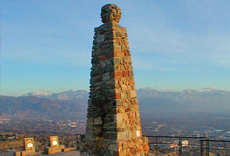 The monument at the top of Ensign Peak.