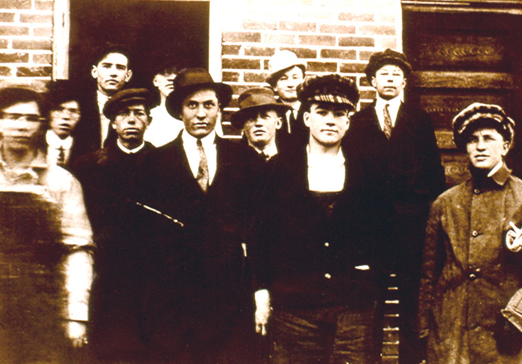A young Harold B. Lee (front, second from right) attending Oneida Stake Academy.