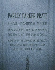 Detail of the Parley P. Pratt Gravesite Monument Photo courtesy of Alexander L. Baugh
