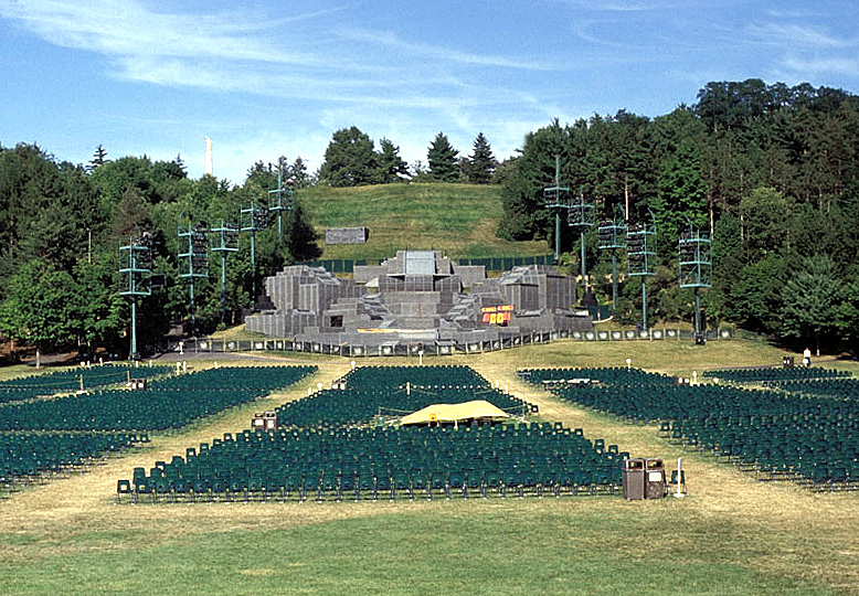 Hill Cumorah with the set used for the pageant (1999). Photo by Kenneth Mays