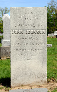 Headstone of John Johnson in the Kirtland North Cemetery adjacent to the Kirtland Temple. Photo (2008) by Kenneth Mays.