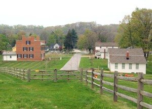 Kirtland Village with reconstructed John Johnson Inn at the left. Photo (2006) by Kenneth Mays.