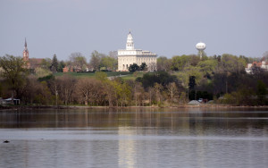 The Nauvoo Temple as seen from Montrose, Iowa. Photo by Kenneth Mays.