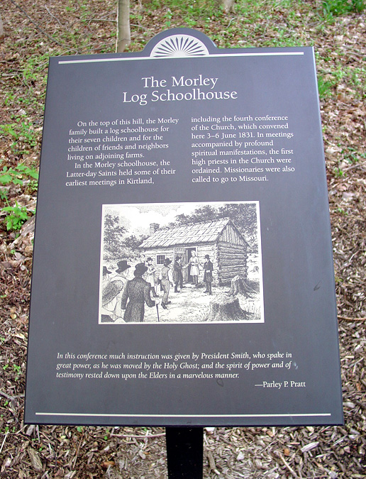 Interpretive sign on a path on what was once the Isaac Morley farm. Photo (2005) by Kenneth Mays.