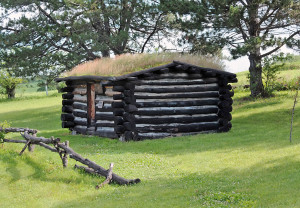 Old log cabin on display at Mt. Pisgah. Photo by Kenneth Mays.