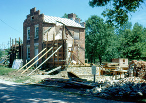 The Brigham Young Nauvoo home during restoration. Photo (1968) by Raleigh Davis.
