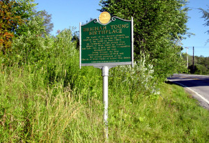 A sign at Whitingham noting that it was the birthplace of Brigham Young. Photo by Kenneth Mays.
