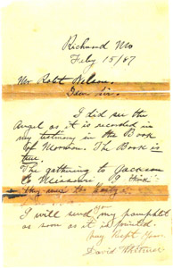 Letter from David Whitmer. Courtesy Christopher Jones