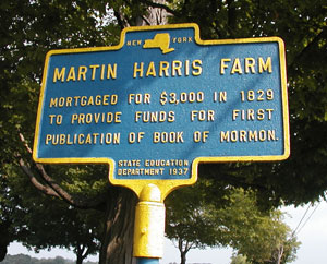 The marker at the Martin Harris Farm Photo courtesy of Alexander L. Baugh