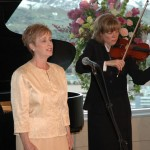 """Shawna Gottfredson sang """"We Ever Pray for Thee"""" at the award banquet. She was accompanied by Karen Hughes on the violin and Marshall McDonald on the piano."""