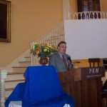 Kim R. Wilson, chairman of the MHSF, speaking at the Nathaniel Felt plaque ceremony.  Photo courtesy Fred E. Woods