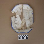 Reconstructed whiteware platter with blue shell-edged decoration (typical of Mormon-period Nauvoo ceramics).  Photo courtesy Nauvoo Archaeological Project, Shane Baker, Director