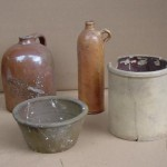 Reconstructed earthenware vessels, including jug, bottle, large bowl and small crock (typical of Mormon and post-Mormon period Nauvoo ceramics).  Photo courtesy Nauvoo Archaeological Project, Shane Baker, Director