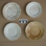 Reconstructed whiteware plates from archaeological excavations (date uncertain).  Photo courtesy Nauvoo Archaeological Project, Shane Baker, Director