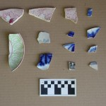 Ceramic fragments from archaeological excavations. Decorated whitewares, including transfer printed designs typical of the Mormon-period occupation of Nauvoo.  Photo courtesy Nauvoo Archaeological Project, Shane Baker, Director