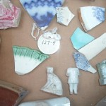 Uncataloged and unsorted ceramic fragments from archaeological excavations (typical of Mormon-period occupation).  Photo courtesy Cady Jardine