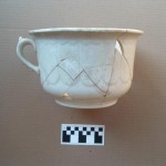 Reconstructed whiteware chamber pot (typical of the Mormon-period occupation, but date uncertain).  Photo courtesy Cady Jardine
