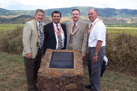 From left to right: Fred E. Woods (Brigham Young University Professor and executive director of the Mormon Historic Sites Foundation), Oscar Aguilar, (Lana'i Branch President), Kim Wilson (chairman of the Mormon Historic Sites Foundation) Riley Moffat (President of the Mormon Pacific Historical Society)  Photo courtesy Fred Woods
