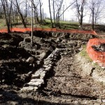 Foundation of the ashery uncovered during the Kirtland restoration process.  Photo courtesy Karl Ricks Anderson