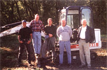 Archaeological team that conducted the Haun's Mill excavation in October 2000. From left to right: Alan Hutchinson, Kim R. Wilson, Jonathan Bullen, Dr. Mark A. Scherer, and Dr. Richard Hauck. Photo courtesy Kim R. Wilson