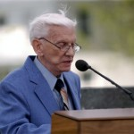 G. Everett Bearnson, grandson of Samuel Bjarnson, one of the first three Icelandic immigrants to come to Utah, offered the opening prayer at the dedication.  Photo courtesy Ethan Vincent
