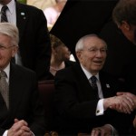 President Ólafur Ragnar Grímsson, President of Iceland, and President Gordon B. Hinckley, President of The Church of Jesus Christ of Latter-day Saints.  Photo courtesy Ethan Vincent