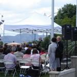 President Gordon B. Hinckley speaking at the dedication of the memorial.  Photo courtesy Derek J. Tangren