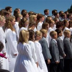 The Utah Valley Children's Choir sang two selections at the dedication of the memorial.  Photo courtesy Fred E. Woods
