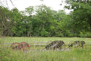 In silent recumbrance, handcarts appear as they might have a century and a half ago before start of first handcart trek at this Iowa location. Photo by R. Scott Lloyd