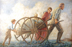 Cloy Kent painting of handcart family, which hangs in Iowa City 4th Ward meetinghouse, is prominent in the city's promotion of handcart sesquicentennial observance, one of two celebrations occurring in June. Photo courtesy Iowa City Handcart Sesquicentennial Committee