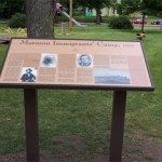 "The ""Mormon Immigrant Camp, 1853"" marker in Triangle Park in Keokuk.  Photo courtesy Fred E. Woods"
