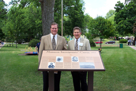 Rob S. Clark, trustee of the MHSF, and Fred E. Woods, executive director stand in front of the marker at Triangle Park in Keokuk, Iowa. Photo courtesy Fred E. Woods