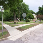 Triangle Park where one of the markers was dedicated.  Photo courtesy Fred E. Woods