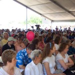 Some of the 3,000 patrons who passed through the newly renovated Las Vegas Old Mormon Fort on the day the gates were re-opened listen to speakers at the commemoration of the sesquicentennial of the fort.  Photo courtesy Fred E. Woods