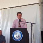 Jonathan Bullen, trustee of the MHSF Board, speaks at the sesquecentennial commemoration.  Photo courtesy Fred E. Woods