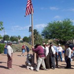 Volunteers participate in a reinactment of the July 4, 1855 flag raising ceremony.  Photo courtesy Fred E. Woods