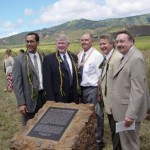 From left to right: Arnold Wunder, Kahului, Hawaii Stake President; Ronald K. Hawkins, Honolulu, Hawaii Mission President; Riley Moffat, Head Reference Librarian at BYU-Hawii and President of the Mormon Pacific Historical Society; Fred E. Woods, BYU Professor of Church History & Doctrine and executive director of the MHSF; Kim R. Wilson, chairman of the MHSF.  Photo courtesy Jace McQuivey, General Counsel, Hawaii Reserves, Inc.