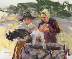 Afraid of another attack, short of help, and facing unseaonably cold temperatures, the shocked survivors quickly buried their dead in an unfinished dry well. Painting by Julie Rogers.