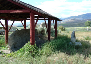 The structure seen here protects a remnant of the original wall of Fort Lemhi. Photo by Kenneth Mays.