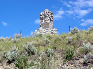 Monument overlooking the site of Fort Lemhi. Photo by Kenneth Mays.