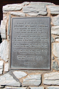 This interpretive plaque gives information about the Spencer W. Kimball childhood home, Thatcher, Arizona. Photo by Kenneth Mays