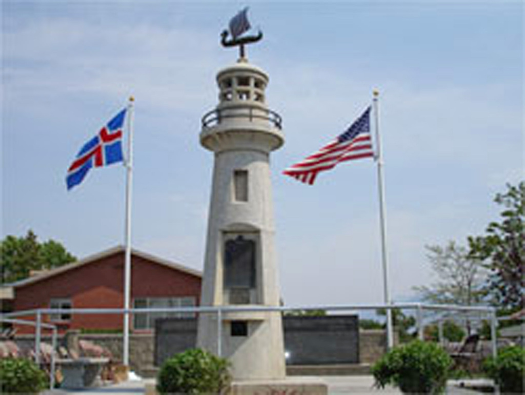 The Icelandic Memorial, Spanish Fork, Utah was dedicated on June 25, 2005. A similar monument was constructed in Iceland on the Westmann Island in 2000. (Photo Courtesy: Derek J. Tangren. )