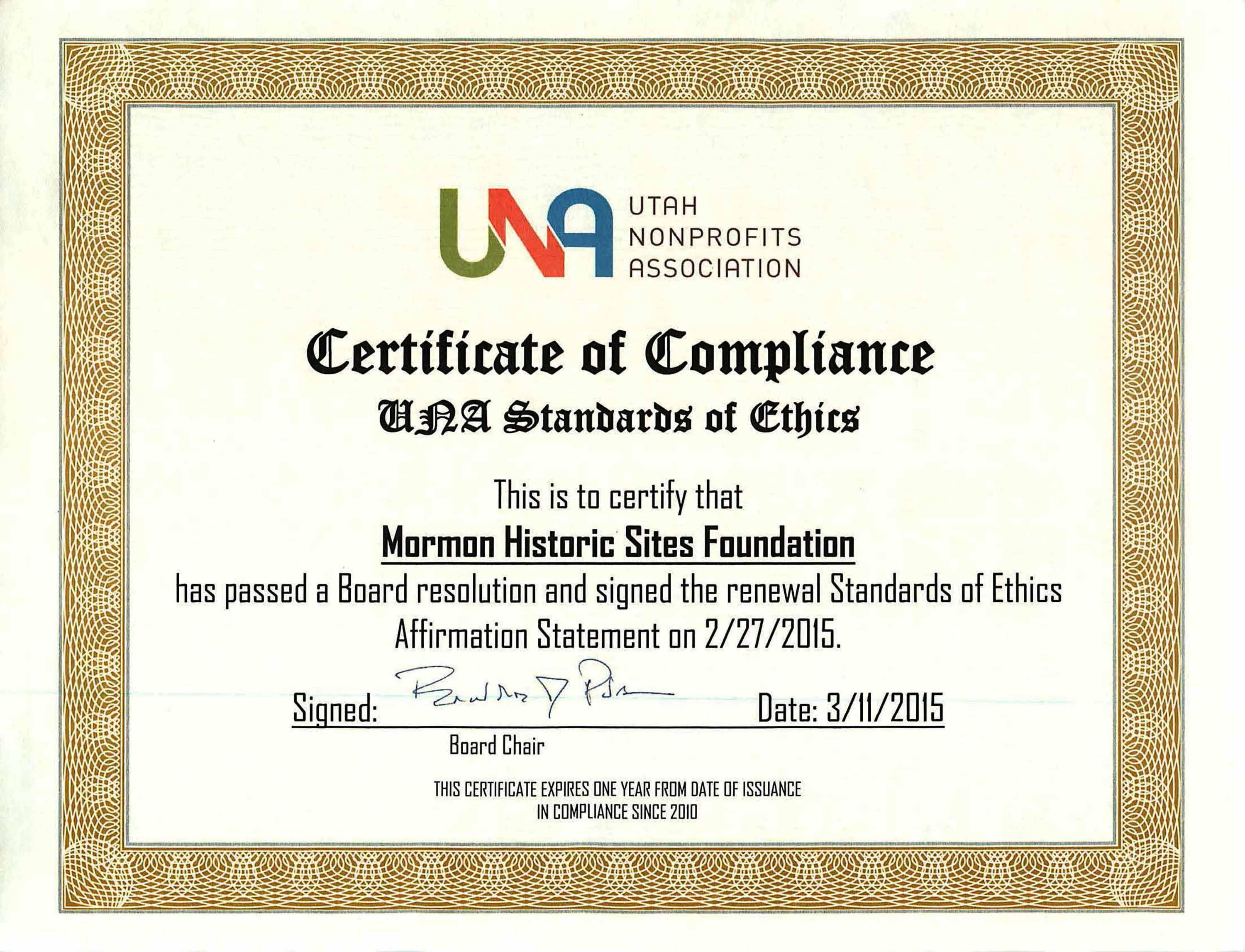Una Certificate Of Compliance