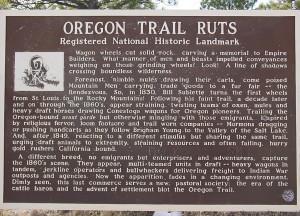 Sign interpreting the wagon ruts at Guernsey, Wyoming