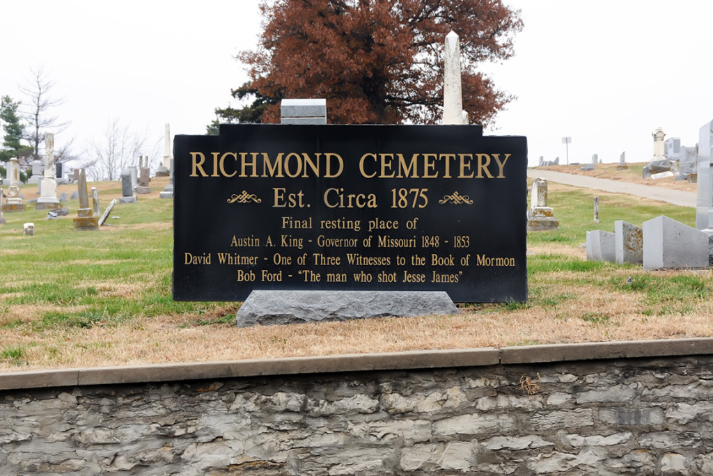 Richmond City Cemetery, where David Whitmer is buried.