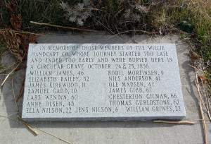 Commemorative plaque listing those of the Willie Company who were buried in the mass grave at Rock Creek. Photo by Kenneth Mays.