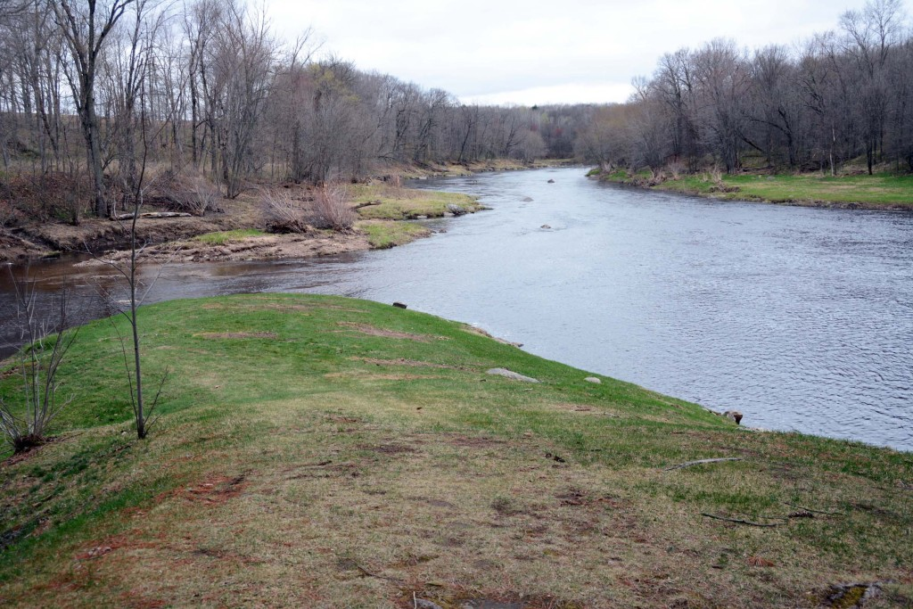 Confluence of Cunningham Creek (left) and the Black River at Neillsville, Wisconsin.