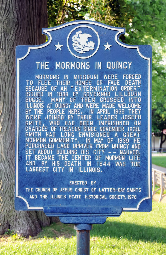 Sign in Washington Park, Quincy, explaining the plight of Mormon exiles and the kindness shown them by the citizens of Quincy. Photo by Kenneth Mays