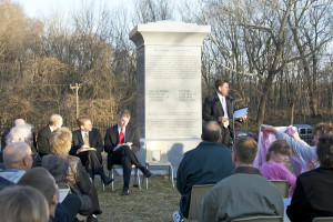 Monument to The Eight Witnesses of the Book of Mormon, Liberty, Missouri, at the time it was dedicated. Photo by Kenneth Mays.
