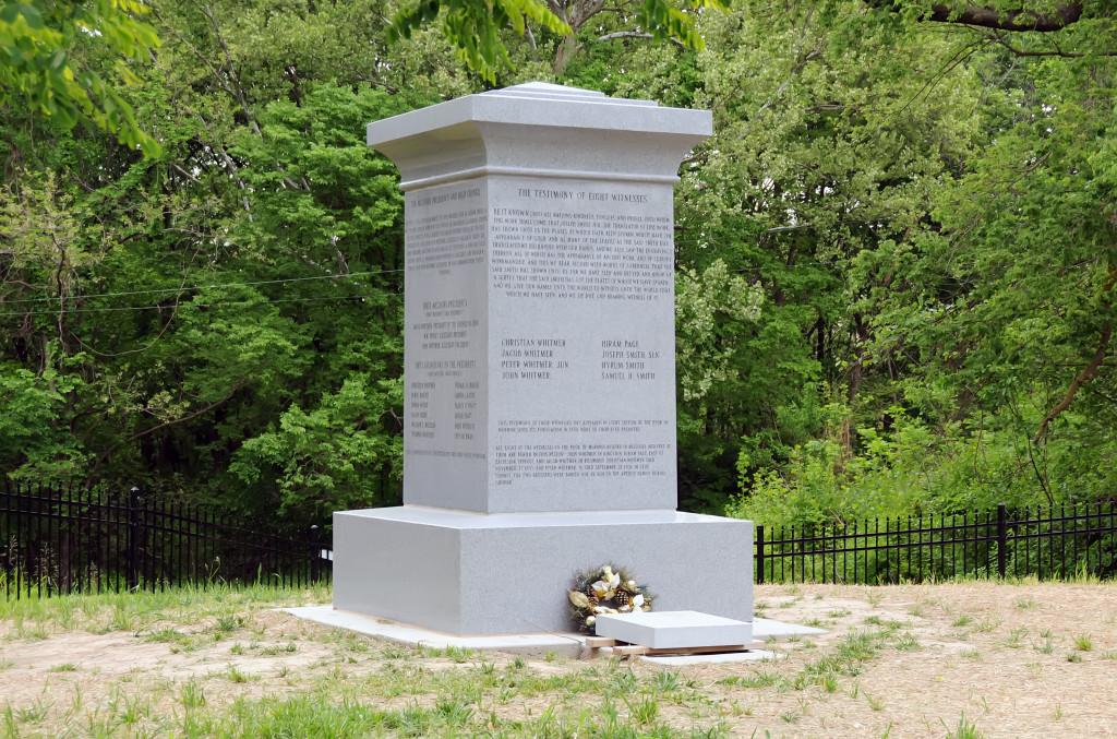 Monument to the Eight Witnesses of the Book of Mormon, Liberty, Missouri. Photo by Kenneth Mays.